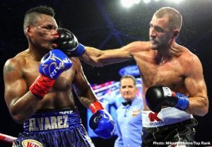 """Eleider Alvarez -  Sergey """"Krusher"""" Kovalev scored a dominating twelfth round unanimous decision via three scorecards (116-112, 116-112, and 120-108) over Eleider """"Storm"""" Alvarez to obtain the WBO belt that he lost to Alvarez six months ago and reclaim his status as one of the best light heavyweight fighters in the world."""