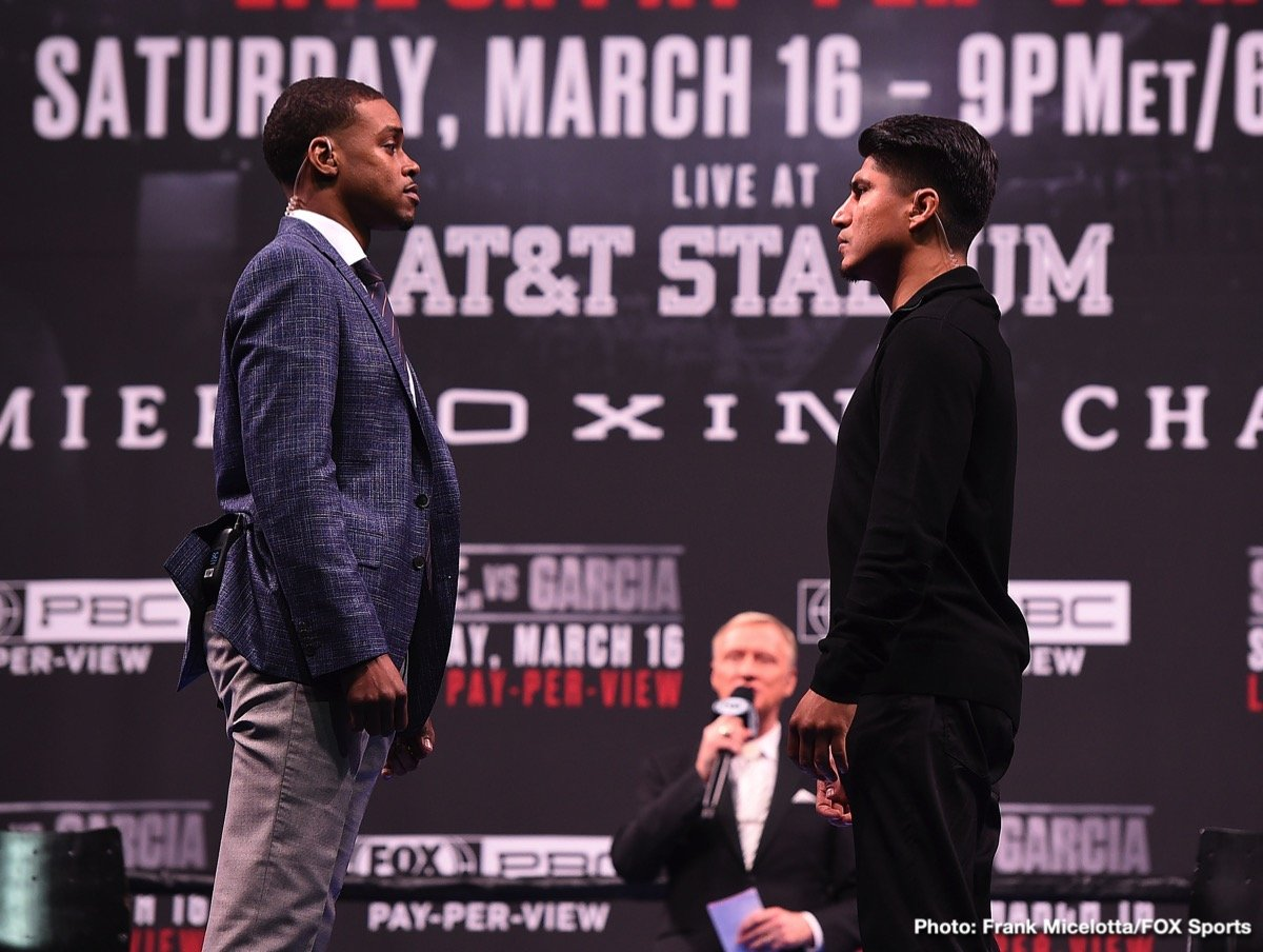 Mikey Garcia - Unbeaten welterweight world champion Errol Spence Jr. and undefeated four-division champion Mikey Garcia previewed their upcoming showdown and faced-off live on FOX at a press conference in Los Angeles Saturday as they near their battle for pound-for-pound supremacy that headlines a Premier Boxing Champions on FOX Sports Pay-Per-View event on Saturday, March 16 from AT&T Stadium in Arlington, Texas.