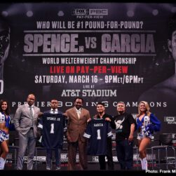 Chris Arreola, David Benavidez, Errol Spence Jr., Mikey Garcia - Unbeaten welterweight world champion Errol Spence Jr. and undefeated four-division champion Mikey Garcia previewed their upcoming showdown and faced-off live on FOX at a press conference in Los Angeles Saturday as they near their battle for pound-for-pound supremacy that headlines a Premier Boxing Champions on FOX Sports Pay-Per-View event on Saturday, March 16 from AT&T Stadium in Arlington, Texas.