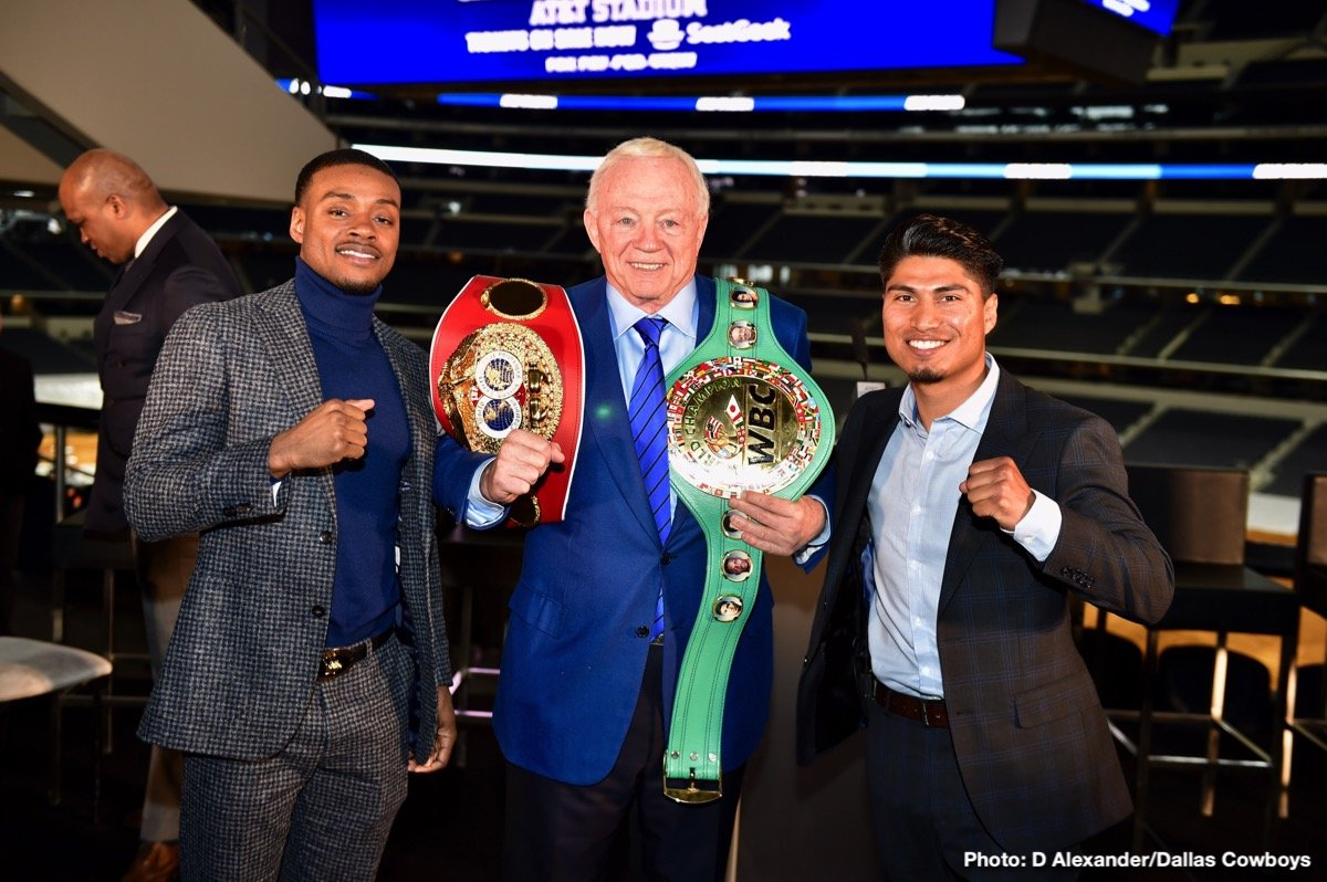 Mikey Garcia - Unbeaten welterweight world champion Errol Spence Jr. and undefeated four-division world champion Mikey Garcia went face-to-face at a press conference in Arlington, Texas Tuesday as they previewed their showdown that headlines a Premier Boxing Champions on FOX Sports Pay-Per-View event on Saturday, March 16 from AT&T Stadium.