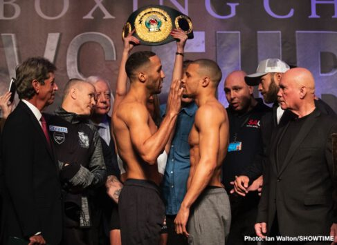 Chris Eubank Jr, James DeGale - Note: Former featherweight world champion Lee Selby and Omar Douglas will fight in a 12-round lightweight swing bout.  Selby measured 134 ½ pounds for his lightweight debut while Douglas weighed-in at 132 pounds.