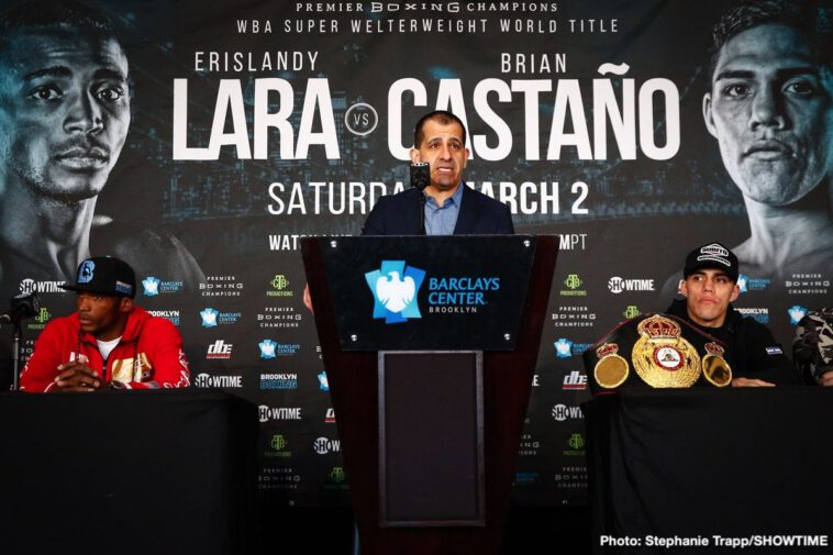 Brian Castano, Christian Hammer, Erislandy Lara, Luis Ortiz - Former world champion Erislandy Lara and WBA Super Welterweight Champ Brian Castaño went face-to-face Thursday at the final press conference before they headline action this Saturday live on SHOWTIME from Barclays Center, the home of BROOKLYN BOXING™, and presented by Premier Boxing Champions.