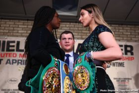 Christina Hammer, Claressa Shields - Two undefeated middleweight champions went face-to-face Tuesday as Claressa Shields and Christina Hammer met in New York at a press conference ahead of their battle for the undisputed women's middleweight championship Saturday, April 13 live on SHOWTIME from Boardwalk Hall in Atlantic City, N.J.