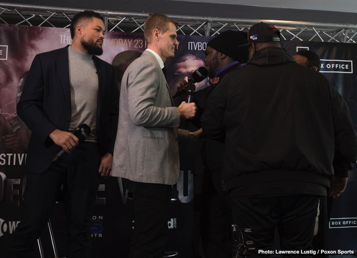 Bermane Stiverne - Undefeated British Heavyweight sensation Joe Joyce came face-to-face with Bermane Stiverne ahead of their Commonwealth Title clash today, but it erupted between the Former World Champion and the British fighter's manager.