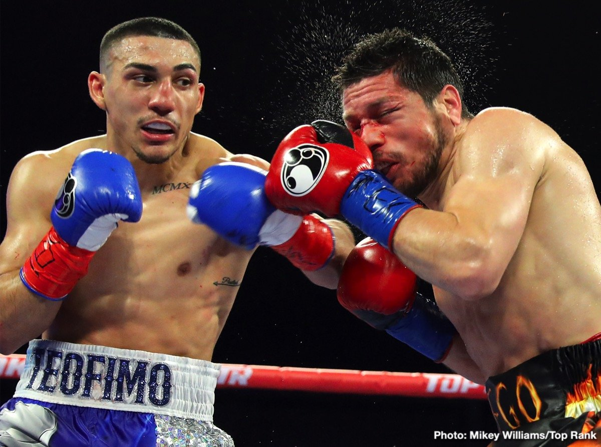 Teofimo Lopez - On a night with three world title fights, it was boxing's hottest star that stole the show at The Ford Center at The Star in Frisco, Texas, as Teofimo Lopez (12-0, 10 KOs) bloodied, battered, beat up and knocked out former two-time world title challenger Diego Magdaleno in the 7th round of their NABA/NABF/USBA Lightweight Title bout.
