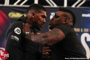 """Jarrell """"Big Baby"""" Miller - As fans probably know, things got pretty tense at yesterday's presser for the June 1st Anthony Joshua/Jarrell Miller clash in New York. Some of the highlights being: the """"shove,"""" Miller putting his hands on the WBA/IBF/WBO heavyweight champ and sending him flying, Miller calling Joshua """"an Uncle Tom,"""" and the usually reserved AJ vowing to knock Miller """"the f**k out!"""""""