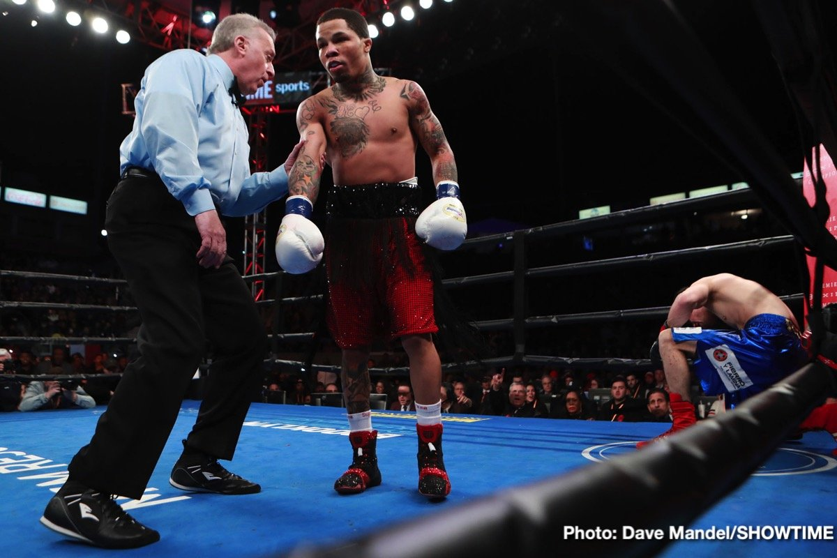 """Gervonta Davis - WBA super-featherweight champ Gervonta Davis looked sensational in blasting out late-sub Hugo Ruiz last night. """"Tank"""" literally ran over the Mexican puncher, stopping him inside a round. Davis, now 21-0(20) has stated that he has put his out of the ring problems behind him and that he will be far more active than he has been from here on in (last night's quick win was Davis' first fight in ten months)."""