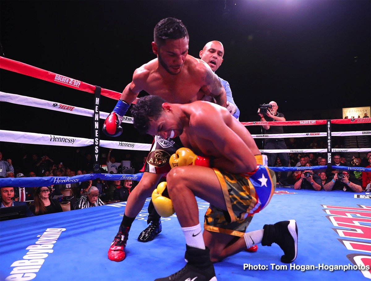 "In front of a sold-out crowd at Fantasy Springs Resort & Casino on Saturday night, Andrew Cancio rebounded from a first-round knockdown to upset Alberto Machado to win the WBA Super Featherweight Title in a thrilling performance. In a co-main event that saw both men hit the canvas, Rey Vargas defeated Franklin Manzanilla to retain the WBC Super Bantamweight Title. Joseph ""JoJo"" Diaz Jr. moved up to 130 pounds and defeated his friend Charles Huerta by unanimous decision, and the new WBC Continental Americas Lightweight World Titlist Adrian Estrella outlasted Oscar Duarte in a 10-round battle."