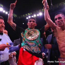 """Alberto Machado, Andrew Cancio, Rey Vargas -  In front of a sold-out crowd at Fantasy Springs Resort & Casino on Saturday night, Andrew Cancio rebounded from a first-round knockdown to upset Alberto Machado to win the WBA Super Featherweight Title in a thrilling performance. In a co-main event that saw both men hit the canvas, Rey Vargas defeated Franklin Manzanilla to retain the WBC Super Bantamweight Title. Joseph """"JoJo"""" Diaz Jr. moved up to 130 pounds and defeated his friend Charles Huerta by unanimous decision, and the new WBC Continental Americas Lightweight World Titlist Adrian Estrella outlasted Oscar Duarte in a 10-round battle."""
