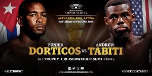 """Andrew Tabiti, Yuniel Dorticos - Yunier """"The KO Doctor"""" Dorticos (24-1, 22 KOs) obliterated Andrew Tabiti (17-1, 13 KOs) in scoring a one-punch knockout in the 10th round on Saturday night in the World Boxing Super Series  cruiserweight semifinal to win the vacant IBF title on Saturday night in front of a big crowd at the Arena Riga in Riga, Latvia."""
