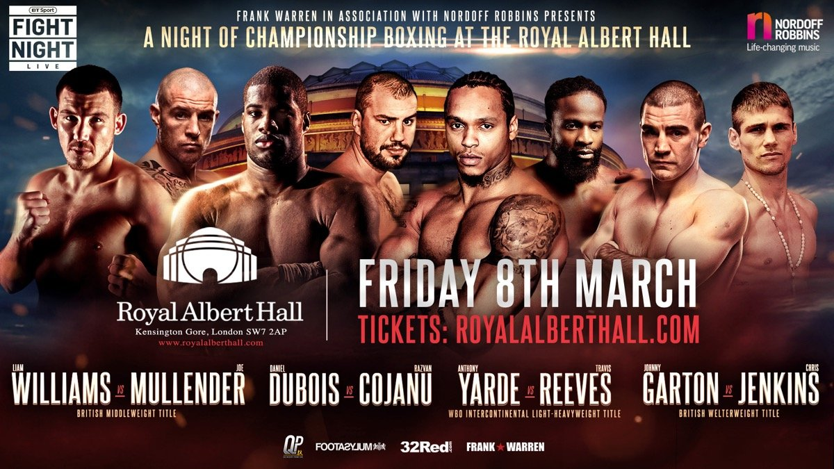Anthony Yarde, Daniel Dubois, Joe Mullender, Liam Williams, Razvan Cojanu - Frank Warren - I believe the Royal Albert Hall is the oldest active boxing venue in the UK, so it is a historical place as far as this sport is concerned.