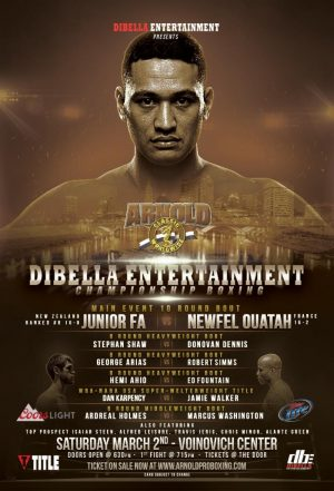 Junior Fa - orld ranked heavyweight contender Junior Fa (16-0, 9 KOs), of Otahuhu, New Zealand, has returned to the United States for a 10-round clash against former French heavyweight champion Newfel Ouatah (16-2, 9 KO's) this Saturday, March 2, headlining a SPECIAL EDITION of DiBella Entertainment's acclaimed and long-running Broadway Boxing series at the Voinovich Center in Columbus, OH. The event is a partnership with entertainment legend and politician Arnold Schwarzenegger at the Arnold Sports Festival and will be streamed on LIVE.DBE1.com, as part of DBE's partnership with CBS Sports Digital and Sportslive, starting at 7:00 p.m. EST.