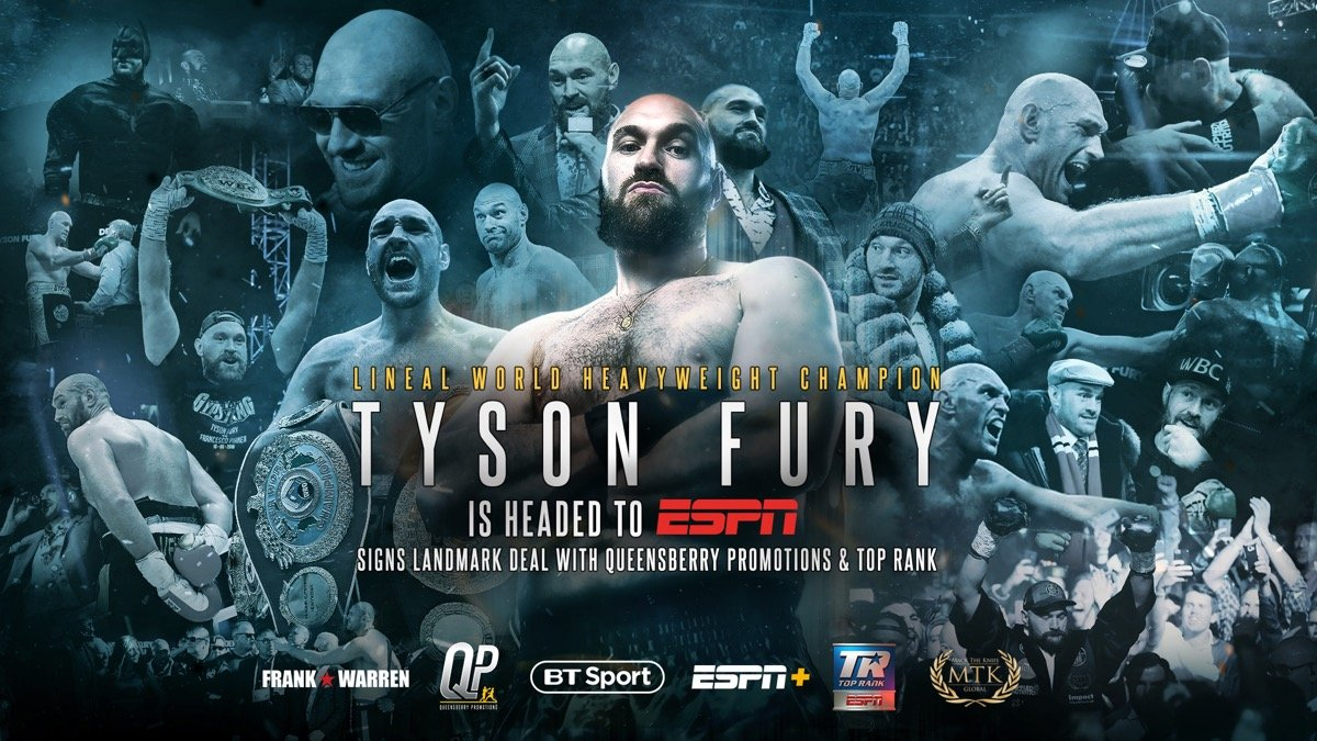 Tyson Fury, one of the world's most dynamic and popular heavyweight boxers, and Hall of Fame promoter Frank Warren are joining forces with Hall of Fame promoter Bob Arum's Top Rank. The agreement will mean that Fury will be a headline part of the boxing lineup under the historic, long-term Top Rank on ESPN relationship.