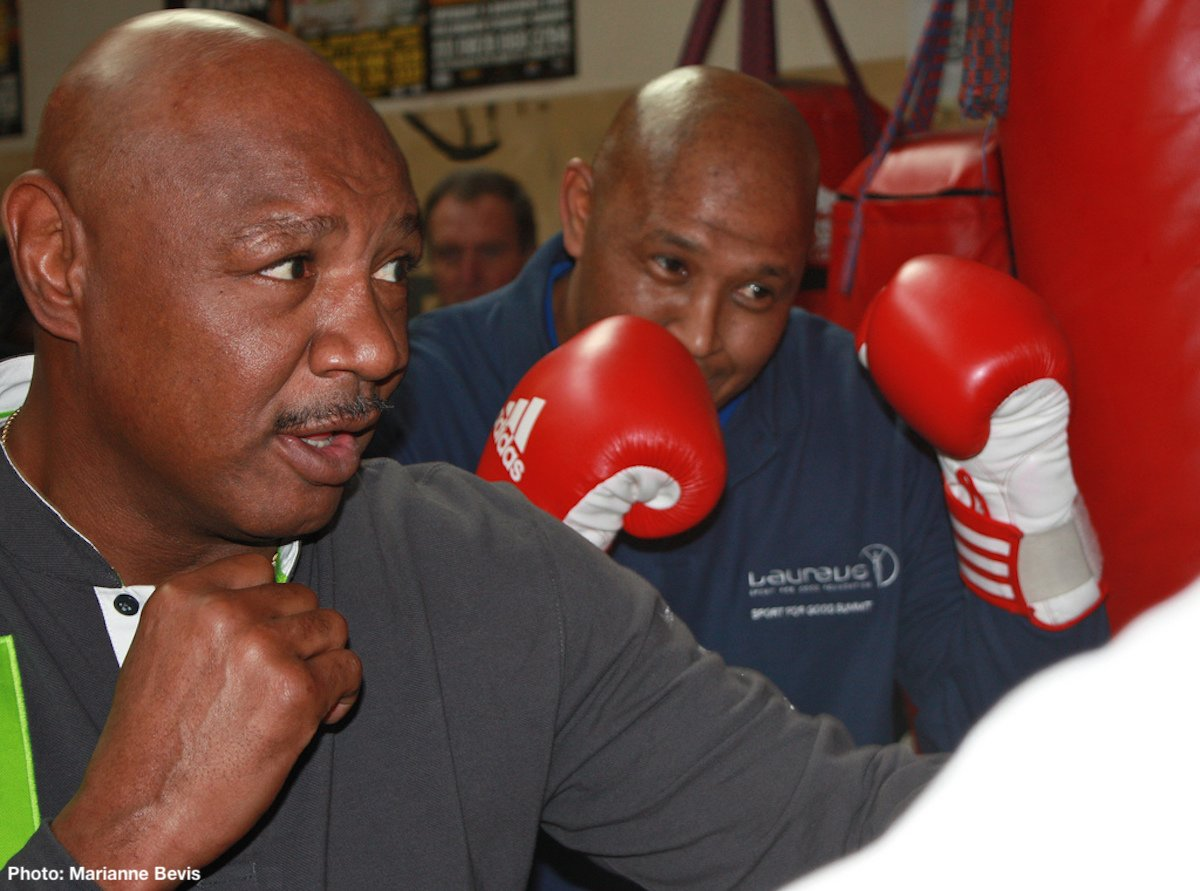 Marvin Hagler - Barry McGuigan, writing in his regular boxing column for The Mirror, makes his case for Marvelous Marvin Hagler being not only the greatest middleweight ever, but also a man who would have had too much for fellow legends Sugar Ray Robinson and Carlos Monzon. McGuigan – who ruled the featherweight division for a brief, magical spell in the mid-1980's – is not alone in ranking southpaw Hagler as the finest-ever at 160 pounds, yet plenty of other fight fans/historians will likely disagree with the Irishman's belief that Hagler would have beaten both Robinson and Monzon.