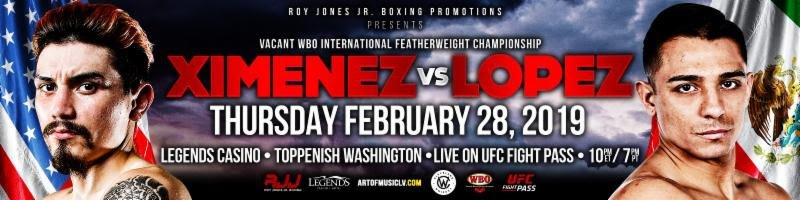 "Jr - Texas prospect Ray ""Valentino"" Ximenez, Jr. will make his Roy Jones Jr. (RJJ) Boxing Promotions debut this Thursday night, headlining a card live-streamed on UFC FIGHT PASS®, from the Event Center at Legends Casino Hotel in Toppenish, Washington."