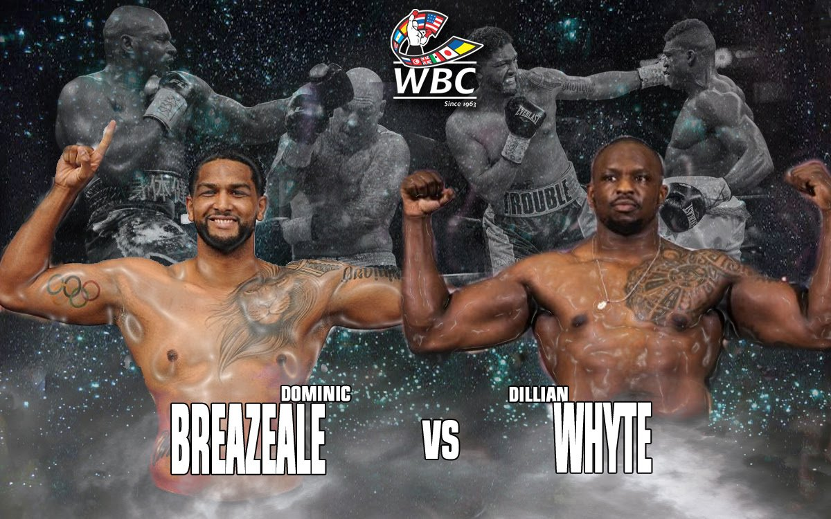 Dillian Whyte, Dominic Breazeale - The WBC Board of Governors has voted unanimously to order an interim title in the heavyweight division under the WBC rules and regulations guidelines and protocols.