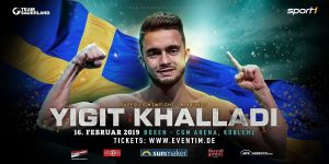 Anthony Yigit - Anthony Yigit (21-1-1, 7 KOs) will face Mohamed Khalladi (10-7-1, 5 KOs) in an eight round super lightweight contest on February 16 at CGM Arena in Koblenz.
