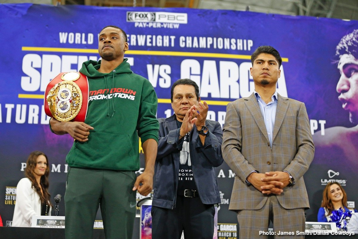 Errol Spence Jr., Mikey Garcia - Errol Spence is facing, in fellow pound-for-pound star and fellow unbeaten Mikey Garcia, the toughest foe of his career thus far; on paper at least. Yet many fans and the majority of fight experts are picking Spence to be too big and too strong for the four-weight champ (in a poll on RingTV.com, the tally was 15-8-1 in favour of the reigning and defending IBF welterweight champ).