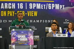 Errol Spence Jr., Mikey Garcia - Unbeaten IBF Welterweight World Champion Errol Spence Jr. and undefeated four-division champion Mikey Garcia went face-to-face at AT&T Stadium in Arlington, Texas Wednesday at the final press conference before they go toe-to-toe at the same venue this Saturday in a Premier Boxing Champions on FOX Sports Pay-Per-View event.