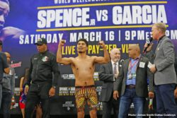 Errol Spence, Luis Nery, Mikey Garcia - Errol 'The Truth' Spence and Mikey Garcia were both on weight on Friday at their weigh-in for Saturday's fight on PBS on Fox PPV in Arlington, Texas. Mikey was first on the scale in weighing in at 145.5 pounds, and not looking overly muscular like some boxing fans thought he would.