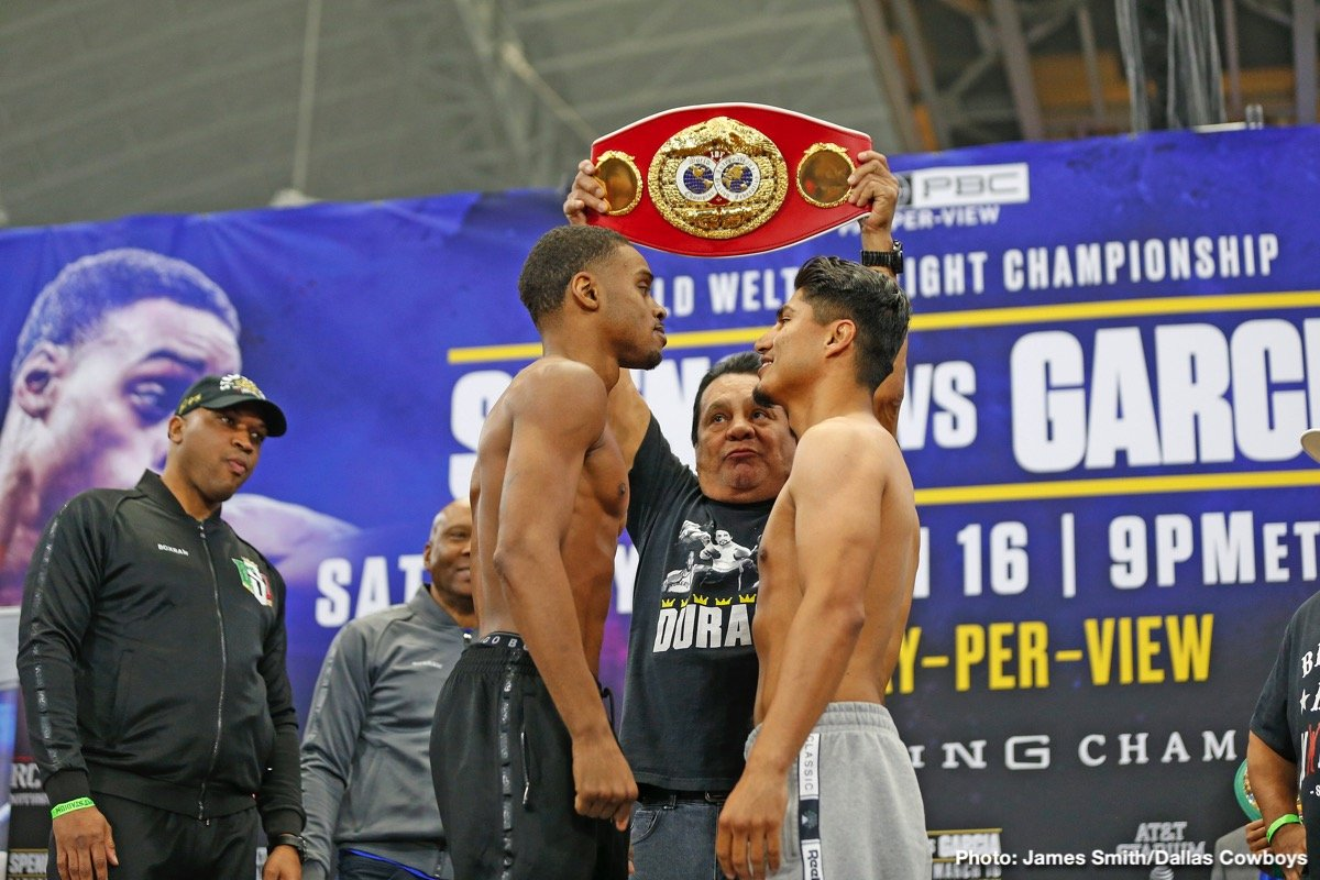 Mikey Garcia - In addition to full live coverage on FS1 and the FOX Sports App, Premier Boxing Champions will deliver live streaming coverage of today's Errol Spence Jr. vs. Mikey Garcia official weigh-in live on the PBC YouTube page beginning at 3 p.m. ET/2 p.m. CT/12 p.m. PT.