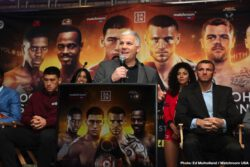 Dmitry Bivol, Joe Smith Jr. - The media gathered on Wednesday afternoon at the Dream Hotel days before undefeated WBA World Light Heavyweight champion Dmitry Bivol makes his fifth title defense against Joe Smith Jr. at Turning Stone Resort and Casino on March 9. WBO Super Lightweight titlist Maurice Hooker will also be defending his belt against undefeated challenger Mikkel LesPierre, and Callum Johnson will be taking on Sean Monaghan. In a press conference the fighters discussed their preparations and predications before the fight, which will be broadcasted live on DAZN.