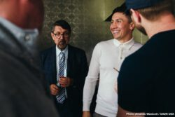 """Gennady Golovkin - The boxing media gathered on Monday afternoon at The Conga Room at LA Live to formally announce that Gennady 'GGG"""" Golovkin will fight the rest of his career on DAZN, the world's largest sports streaming platform. DAZN Executive Chairman John Skipper and former unified middleweight champion discussed the six-fight global partnership between GGG promotions and DAZN that will see Gennady 'GGG' Golovkin fight twice a year on the platform for the next three years. DAZN broadcaster Chris Mannix moderated the conversation."""