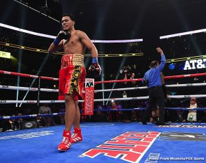 J'Leon Love - Unbeaten former 168-pound world champion David Benavidez (21-0, 18 KOs) dominated J'Leon Love (24-3-1, 13 KOs) to earn a second-round stoppage in their super middleweight matchup.