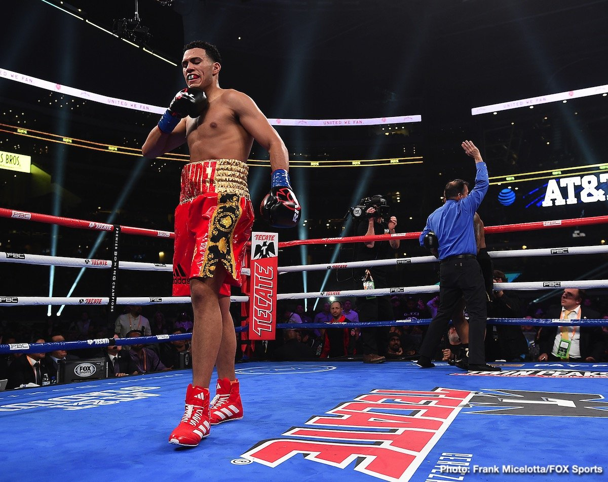 David Benavidez - Unbeaten former 168-pound world champion David Benavidez (21-0, 18 KOs) dominated J'Leon Love (24-3-1, 13 KOs) to earn a second-round stoppage in their super middleweight matchup.