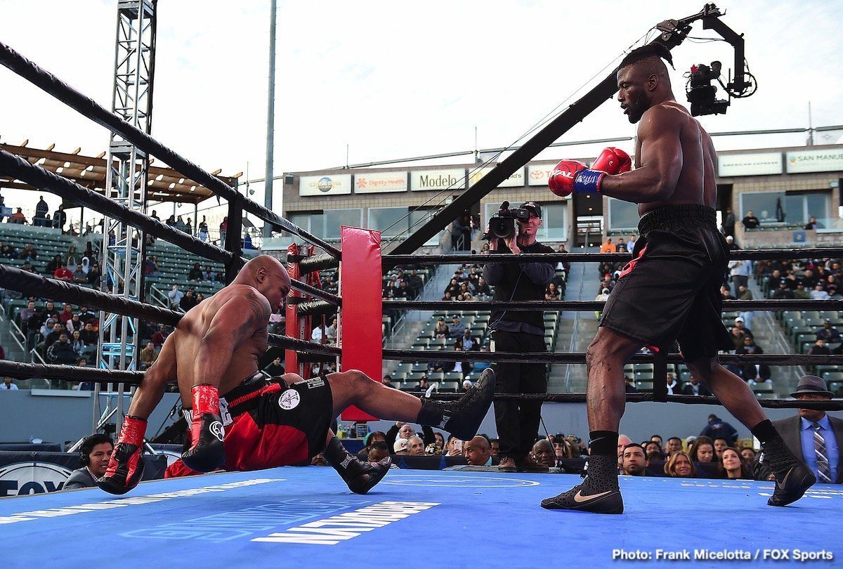 Amir Mansour - Last night, on the Shawn Porter/Yordenis Ugas card, unbeaten heavyweight prospect/contender Efe Ajagba tackled the most notable name of his now 9-0(8) pro career in veteran southpaw Amir Mansour. The result was total domination, as the big and athletic Nigerian who is trained by Ronnie Shields unleashed his power shots. Downed twice in a most torrid opening round, 46 year old Mansour did well to survive the three-minutes.