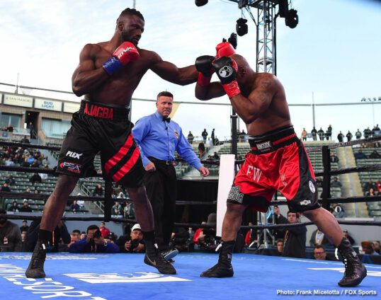 Amir Mansour, Efe Ajagba - Last night, on the Shawn Porter/Yordenis Ugas card, unbeaten heavyweight prospect/contender Efe Ajagba tackled the most notable name of his now 9-0(8) pro career in veteran southpaw Amir Mansour. The result was total domination, as the big and athletic Nigerian who is trained by Ronnie Shields unleashed his power shots. Downed twice in a most torrid opening round, 46 year old Mansour did well to survive the three-minutes.