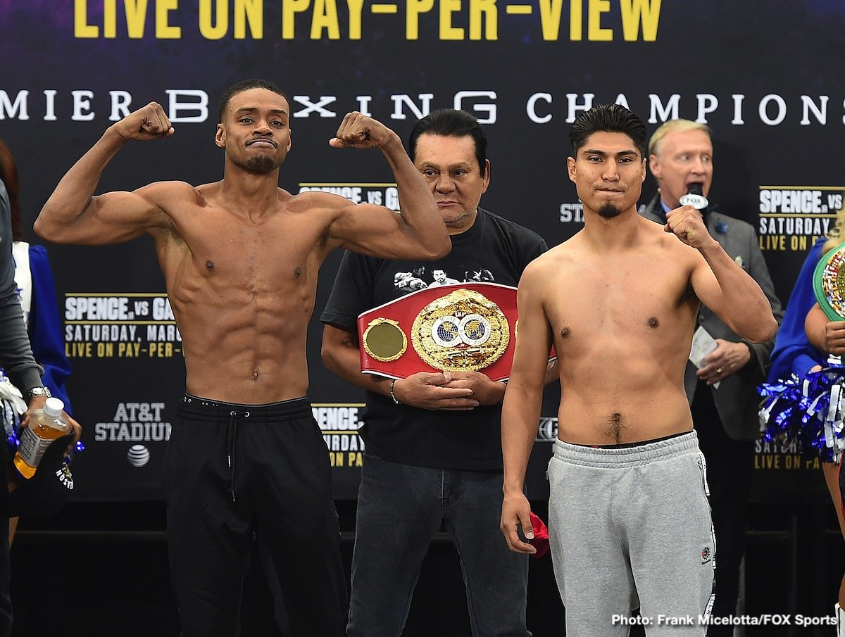 "Errol Spence Jr., Mikey Garcia - Saturday evening at AT&T Stadium in Arlington, Texas, IBF World Welterweight belt holder Errol ""The Truth"" Spence (24-0-0, 21 KOs) squares off against Mikey Garcia (39-0-0, 30 KOs) in what promises to be an interesting match. Spence, a 5'9 ½"" southpaw, has an impressive amateur career and advanced to the quarterfinals in the 2012 London Olympics. A powerful, charismatic fighter, the twenty-nine year-old Spence excels at stalking his opponent into submission with impressive combinations."