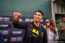 Chris Arreola, David Benavidez, Errol Spence Jr., Mikey Garcia - IBF Welterweight World Champion Errol Spence Jr. and four-division world champion Mikey Garcia hosted separate media workouts in Dallas and Riverside, CA. respectively on Tuesday as they near their historic showdown that headlines the first Premier Boxing Champions on FOX Sports Pay-Per-View event Saturday, March 16 from AT&T Stadium in Arlington, Texas.