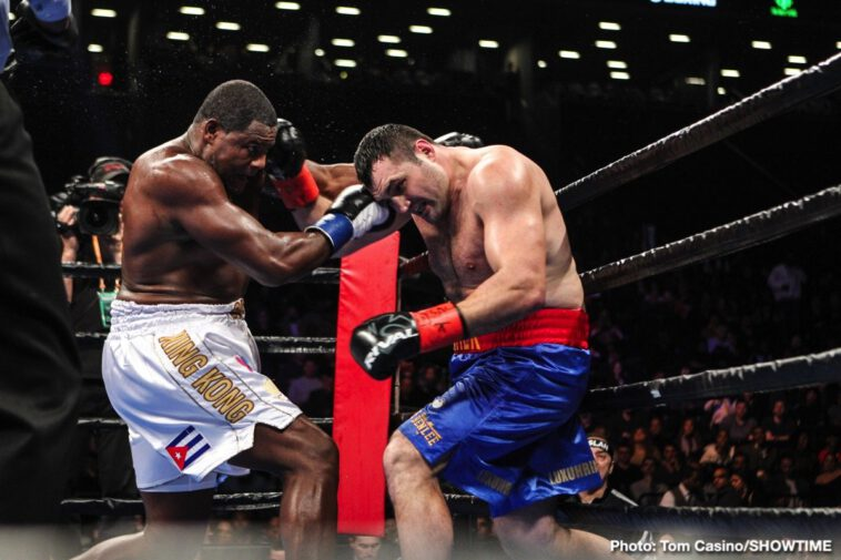 Christian Hammer, Luis Ortiz - Luis Ortiz took a few shots, he was backed up on occasion and he bled from the nose, yet the 39 year old (officially, some say Ortiz is older) pounded out a wide, near shut-out decision win over a game and tough Christian Hammer last night. Winning by scores of 100-90, 99-91 and 99-91 Ortiz improved to 31-1(26). Hammer, who has been in with other big names such as Tyson Fury and David Price, fell to 24-6(14).