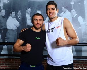 "Tommy Karpency - WBA/WBO lightweight world champion Vasiliy ""Loma"" Lomachenko and WBO super middleweight world champion Gilberto ""Zurdo"" Ramirez came to Fortune Gym in Hollywood on Monday for a media workout as they prepare for their respective bouts, April 12 at Staples Center."