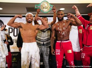 Yordenis Ugas -  Shawn Porter weighed in at 148.8 pounds.  Ugas weighed 146.5. *After initially weighing-in over the 147-pound limit, Shawn Porter made the weight under the two-hour time limit after having his hair cut on-stage.