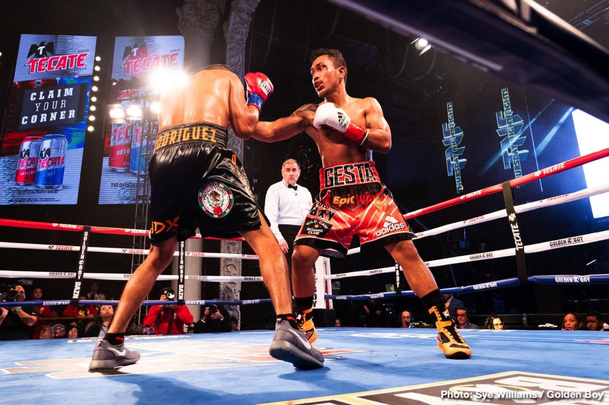 "Mercito Gesta - Juan Antonio ""El Mozo"" Rodriguez (30-7, 25 KOs) of Puebla, Mexico scored an upset, ninth-round technical knockout victory over Mercito ""No Mercy"" Gesta (32-3-2, 17 KOs) of San Diego, Calif. in the scheduled 10-round main event of the inaugural edition of Golden Boy DAZN Thursday Night Fights at Avalon Hollywood. Rodriguez stopped Gesta at 2:55 of the aforementioned round."