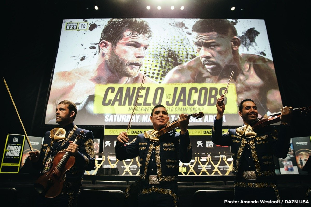 "Daniel Jacobs, Gennady ""GGG"" Golovkin, Saul ""Canelo"" Alvarez - Canelo Alvarez (50-1-2, 34 KOs), WBC, WBA, Lineal and Ring Magazine Middleweight World Champion, hosted an international media conference call today to discuss his upcoming 12-round unification fight against IBF Middleweight World Champion Daniel ""Miracle Man"" Jacobs (35-2, 29 KOs). Oscar De La Hoya, Chairman and CEO of Golden Boy, along with Jose ""Chepo"" Reynoso and Eddy Reynoso, also participated on the call. The event will take place Saturday, May 4, 2019 at T-Mobile Arena in Las Vegas and will be streamed live exclusively on DAZN."