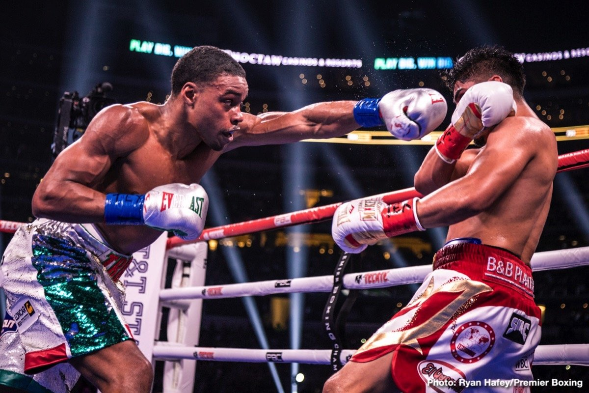 David Benavidez - IBF welterweight champion Errol Spence Jr. (25-0, 21 KOs) put on a masterclass performance in decision the smaller Mikey Garcia (39-1, 30 KO) in handing him his first career defeat in beating him by a one-sided 12 round unanimous decision on Saturday night at the AT&T Stadium in Arlington, Texas.