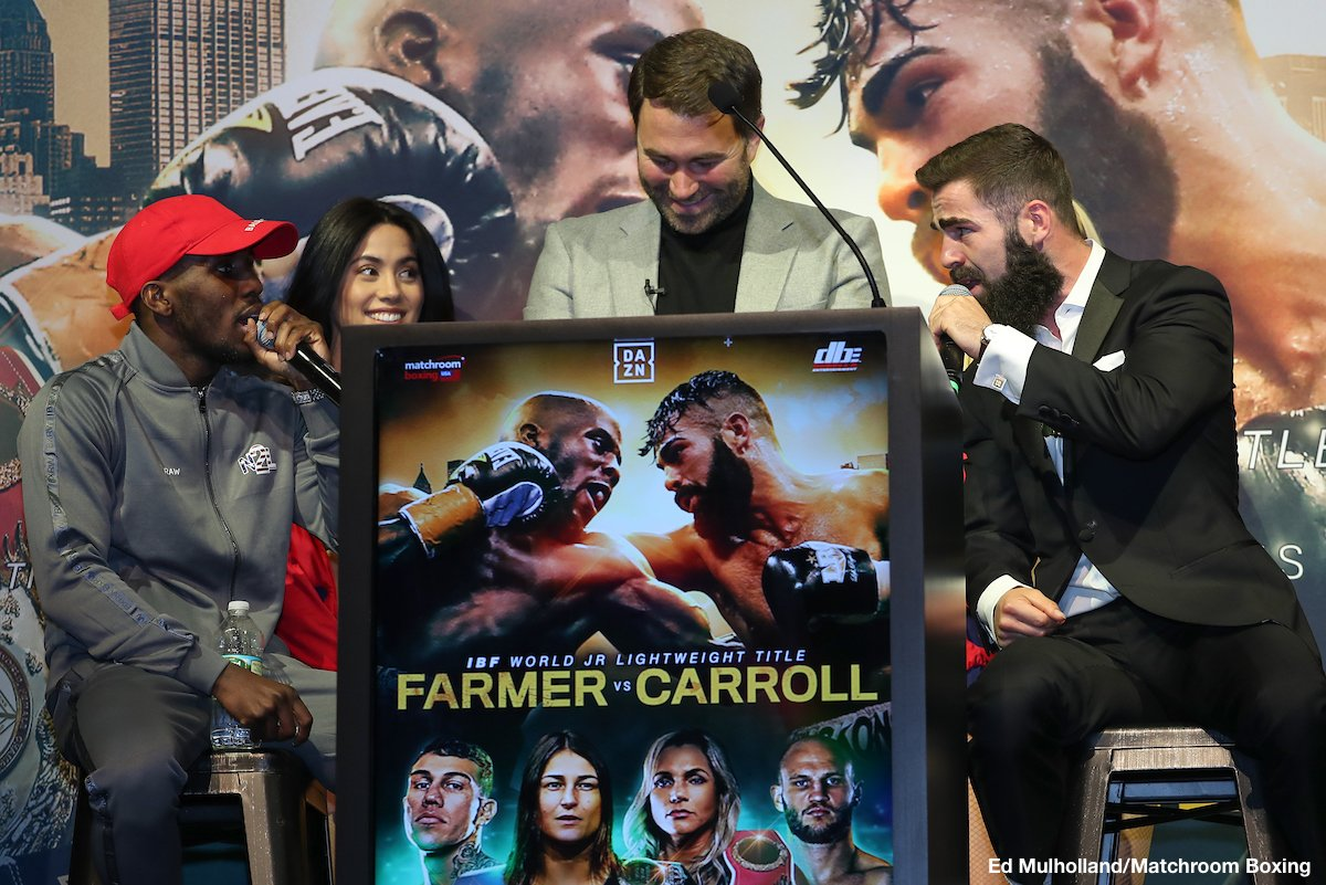 Jono Carroll, Tevin Farmer - Two days before an exciting night of boxing at the Liacouras Center at Temple University, the media gathered for the official press conference of a stacked card headlined by IBF World Super Featherweight Titlist Tevin Farmer defending his belt in his hometown against undefeated Jono Carroll of Ireland. The action-packed event will also feature IBF & WBA World Female Lightweight Titlist Katie Taylor in a unification bout against the WBO World Female Lightweight Titlist Rose Volante, Philly's Gabriel Rosado will go up against Maciej Sulecki in a middleweight tilt, and two Philadelphia natives, Hank Lundy and Avery Sparrow, will face off in a lightweight bout in front of their hometown crowd. The fighters took the stage to discuss their preparation and predictions before entering the ring on Friday night, live on DAZN.