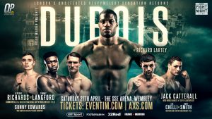 Daniel Dubois, Richard Lartey - One of the sport's fastest-rising heavyweights, Daniel Dubois, returns Saturday when he takes on Ghanaian puncher Richard Lartey for the vacant WBO Global strap in the main event from The SSE Arena, Wembley in London.