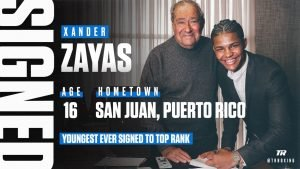 Xander Zayes -  Xander Zayas, born in Puerto Rico and fighting for USA Boxing as one of the world's top amateurs, has signed a multi-year professional contract with Top Rank.