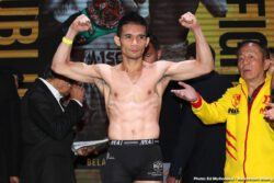"""Juan Francisco Estrada, Srisaket Sor Rungvisai, TJ Doheny -  On the eve of a blockbuster Southern California fight night at The Forum and broadcasted live on DAZN, the fighters all successfully tipped the scales at The Belasco Theater in downtown Los Angeles. In the main event of Friday night's fight card, pound-for-pound star Srisaket Sor Rungvisai and Juan Francisco Estrada will meet again at the site of their first fight, which was a leading contender for """"Fight of the Year"""" in 2018."""