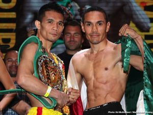 """Srisaket Sor Rungvisai -  On the eve of a blockbuster Southern California fight night at The Forum and broadcasted live on DAZN, the fighters all successfully tipped the scales at The Belasco Theater in downtown Los Angeles. In the main event of Friday night's fight card, pound-for-pound star Srisaket Sor Rungvisai and Juan Francisco Estrada will meet again at the site of their first fight, which was a leading contender for """"Fight of the Year"""" in 2018."""