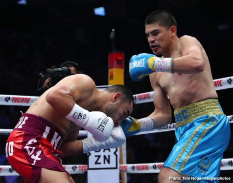 "Dennis Hogan, Jaime Munguia - Jaime Munguia (33-0, 26 KOs) retained his WBO Junior Middleweight World Champion against mandatory challenger Dennis ""Hurricane"" Hogan (28-2-1, 7 KOs) via 12-round majority decision victory in front of a packed house of fans at Arena Monterrey in Monterrey, Nuevo Leon, Mexico. One judge scored the fight a 114-114 draw, while two judges saw Munguia winning the fight with scores of 115-113 and 116-112. The battle was streamed live exclusively on DAZN."