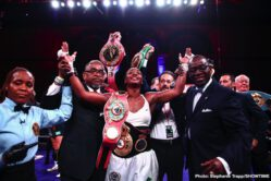 Christina Hammer, Claressa Shields -  Claressa Shields is the undisputed middleweight champion of the world. The 24-year-old Flint native delivered the best performance of her career and cruised to a unanimous decision over Germany's Christina Hammer Saturday on SHOWTIME in arguably the most significant women's boxing match in history. The judges scored the fight from Boardwalk Hall in Atlantic City 98-92 and 98-91 twice.