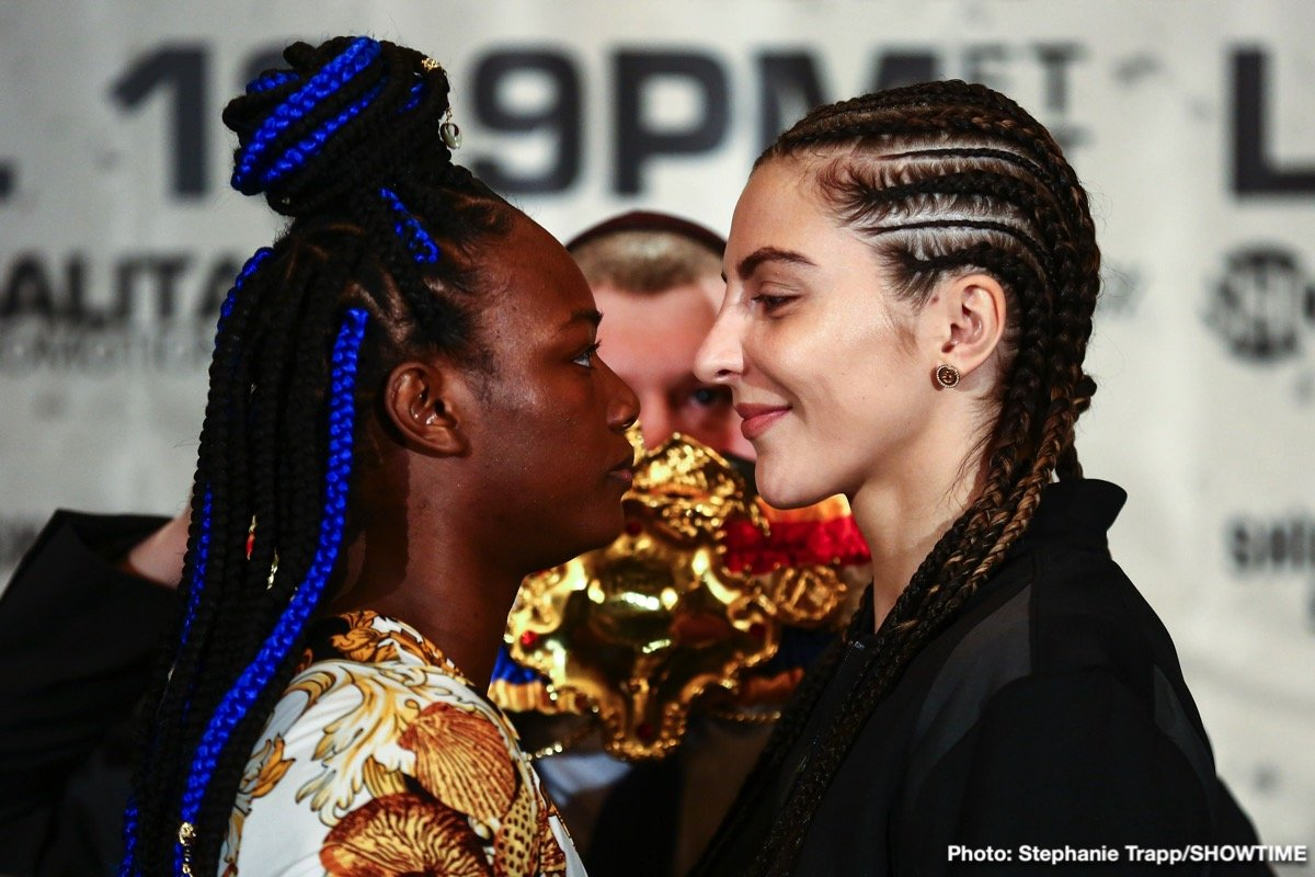 "Claressa ""T-Rex"" Shields - Undefeated middleweight champions Claressa Shields and Christina Hammer went face-to-face in New York on Wednesday just three days before arguably the most significant event in women's boxing history this Saturday live on SHOWTIME from Boardwalk Hall in Atlantic City, N.J."