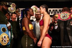 "Christina Hammer, Claressa ""T-Rex"" Shields -  Undefeated middleweight champions Claressa Shields and Christina Hammer went face-to-face one final time during a tension-filled official weigh-in for the most significant event in women's boxing history. Both fighters made weight as the two champions aim to become the undisputed middleweight champion tomorrow in the main event of SHOWTIME BOXING: SPECIAL EDITION live on SHOWTIME (9:10 p.m. ET/PT) from Boardwalk Hall in Atlantic City, N.J."