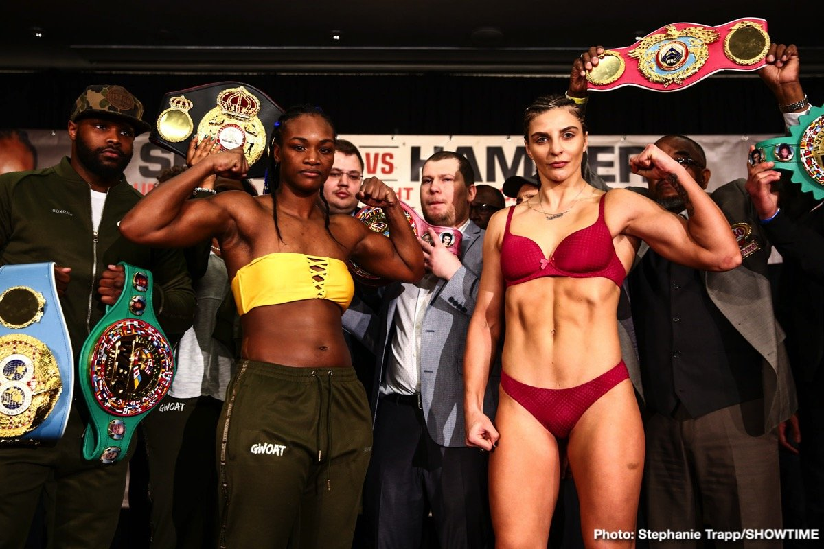 Undefeated middleweight champions Claressa Shields and Christina Hammer went face-to-face one final time during a tension-filled official weigh-in for the most significant event in women's boxing history. Both fighters made weight as the two champions aim to become the undisputed middleweight champion tomorrow in the main event of SHOWTIME BOXING: SPECIAL EDITION live on SHOWTIME (9:10 p.m. ET/PT) from Boardwalk Hall in Atlantic City, N.J.