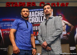 Anthony Crolla - It seems virtually no-one is prepared to give British challenger, former WBA lightweight champ Anthony Crolla any chance at all against the supreme skills of current 135 pound king and pound-for-pound best (in the opinion of most) Vasyl Lomachenko. Crolla, refusing to be fazed ahead of tomorrow night's fight in Los Angeles, may or may not have looked at the betting odds available on the fight (probably not, and that's not a bad thing), but those who do take a look will see that the southpaw from Ukraine is listed in some places as a whopping great 100/1 favorite over the Britisher.